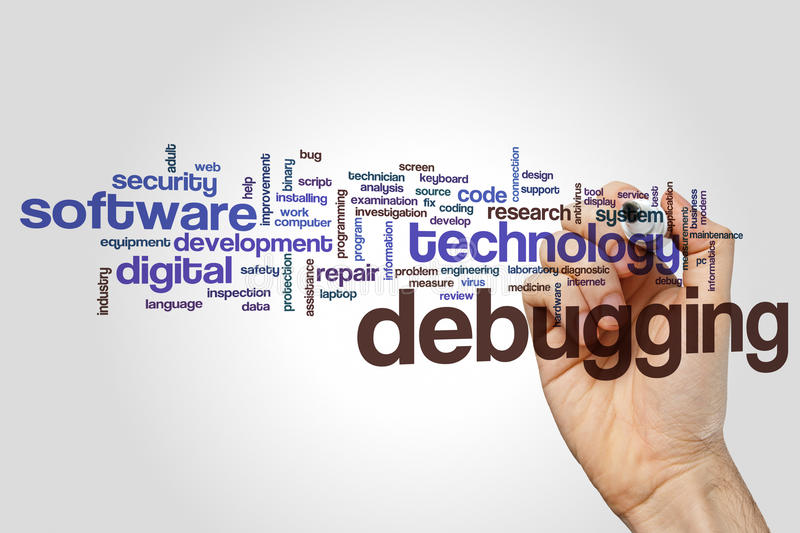 Debugging word cloud concept on grey background.  stock photography