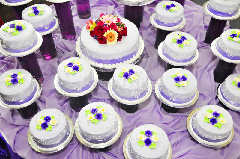 Debutante's Cake. Individual cakes for debutante with flower decorations on top royalty free stock photos