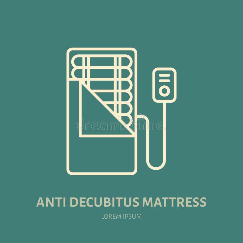 Decúbito anti, icono del colchón de las úlceras de la presión, línea logotipo Muestra plana para dormir sano ergonómico stock de ilustración