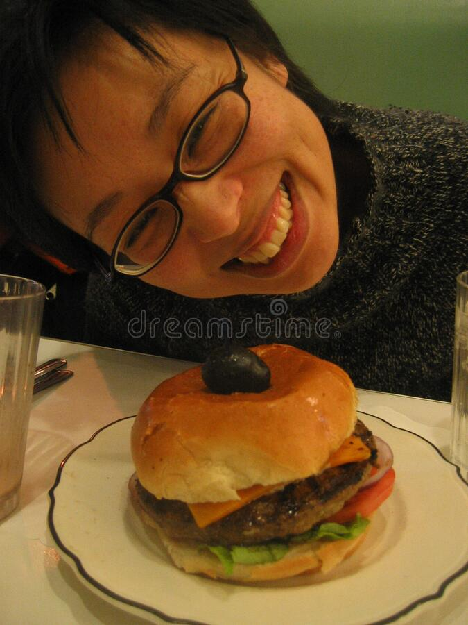 15Dec2004 Hanging out at Moderne Burger - 3 royalty free stock photo