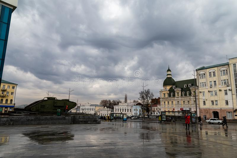 Dec 2017, Kharkiv, Ukraine: tourists near a British tank outside of History Museum stock photos