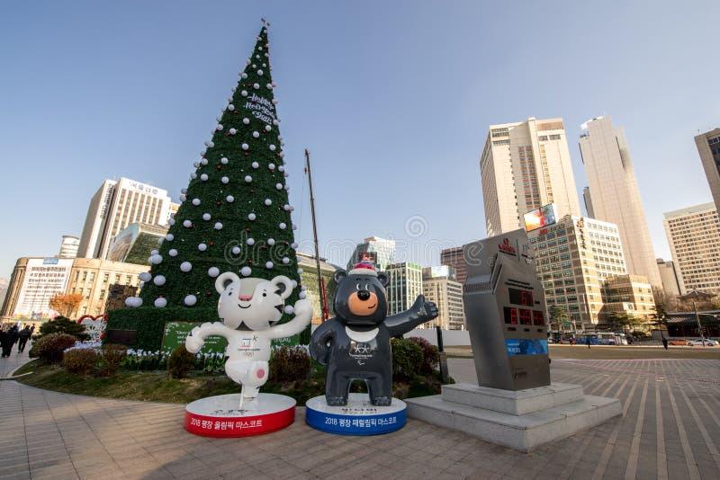 Dec 4,2017 Pyeongchang 2018 Winter Olympics Mascot front of Seoul City hall stock photos