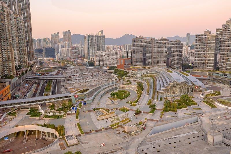 1 Dec 2019 Top view of west kowloon station hk. 1 Dec 2019 the Top view of west kowloon station stock photography