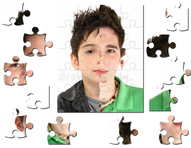 Decade of Change from Age Eight to Eighteen. Conceptual growth image of child age 8 and 18 years old stock photo