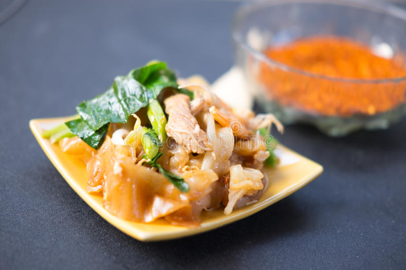 Decadent thai chicken stir fry Thai call royalty free stock image