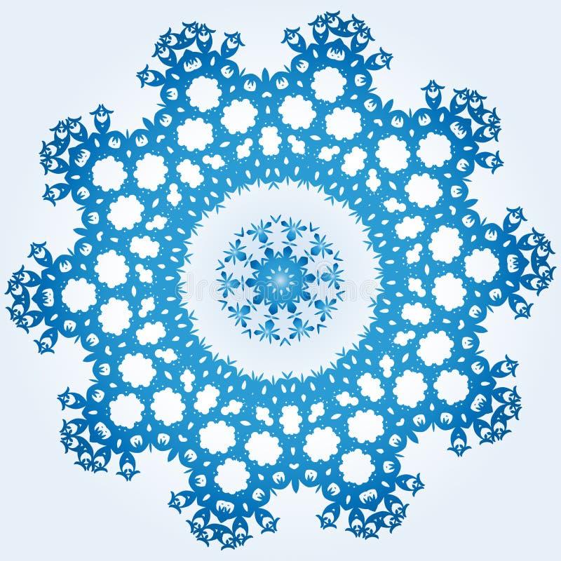 Decagonal blaue und weiße Schneeflocke auf hellblauem Steigung backgr vektor abbildung