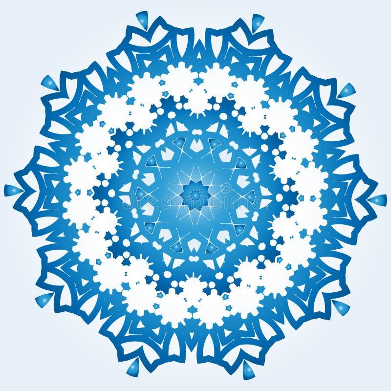 Decagonal blaue und weiße Schneeflocke auf hellblauem Steigung backgr lizenzfreie abbildung