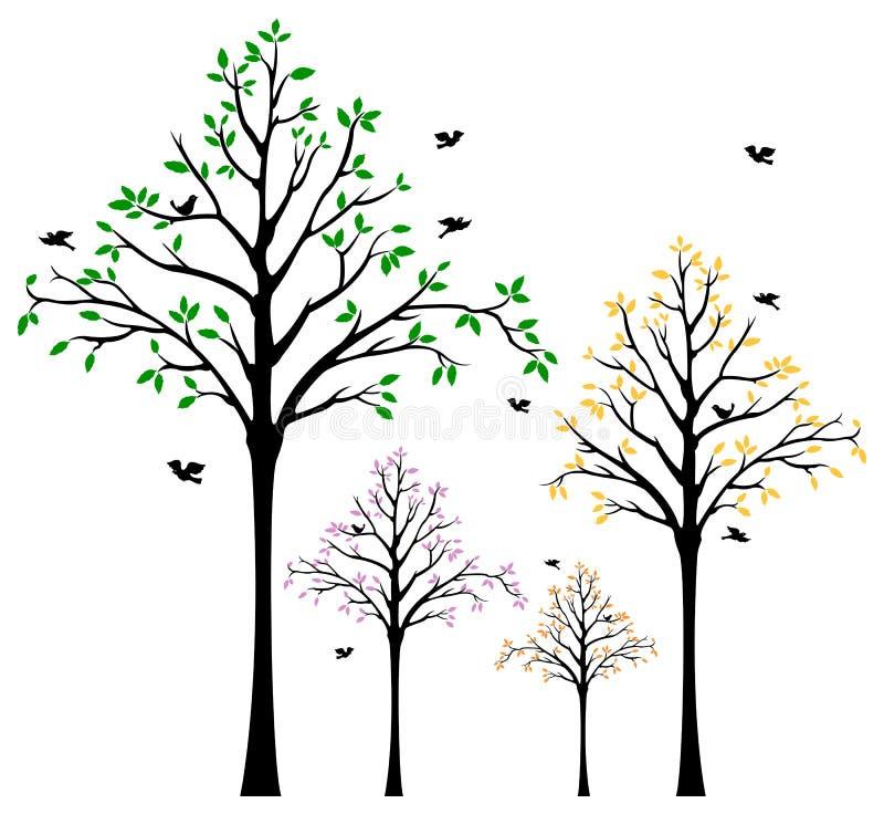 Decalque da parede da árvore ilustração do vetor