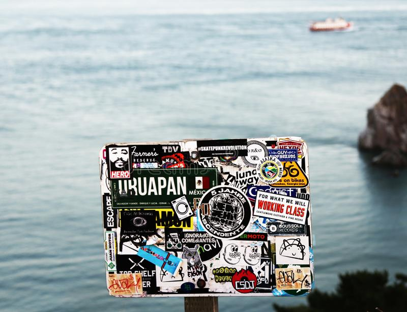 Decals by the sea stock image
