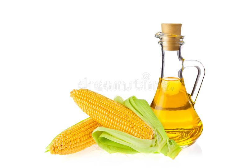 Decanter with farm organic vegetable oil and pair juicy corn cob, on white background. royalty free stock photos