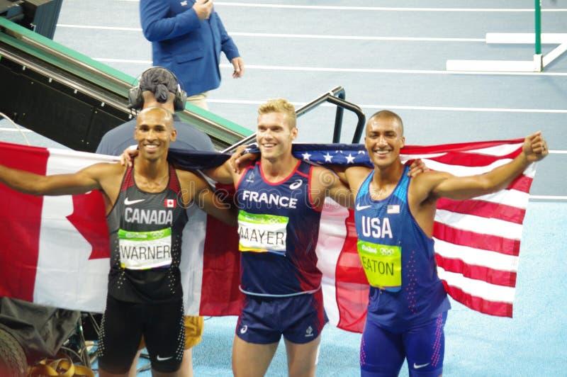 The decathlon medalist at Rio2016. Olympics in Rio de Janeiro, Brazil. The United States' Ashton Eaton wins gold, France's Kevin Mayer wins silver stock photos