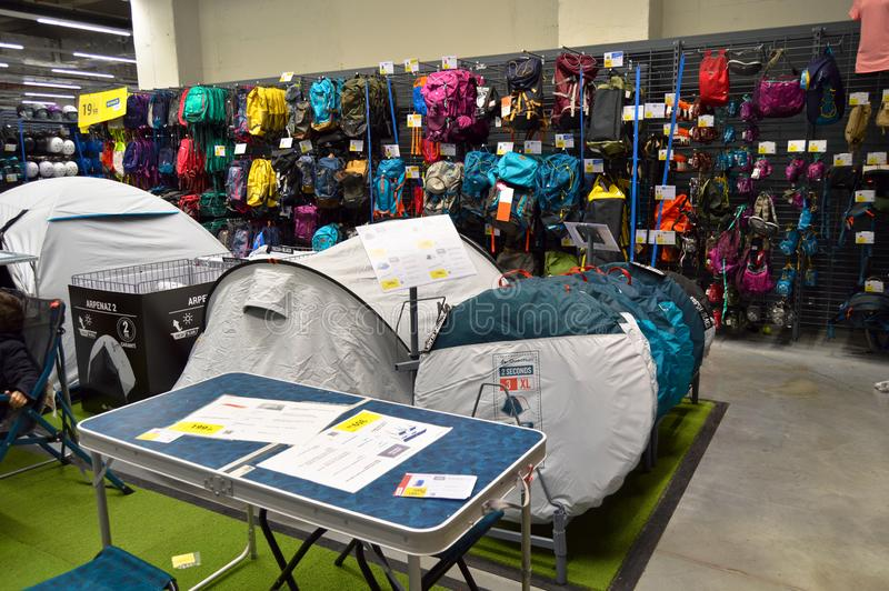 Decathlon store sells materials related to 70 different sports. Camping supplies section stock photo