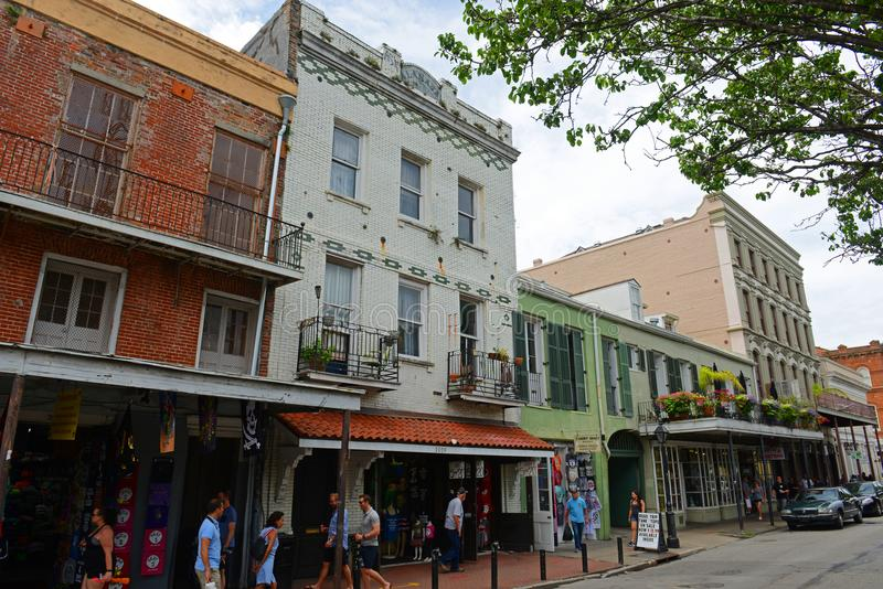 Decatur Street in French Quarter, New Orleans. Historic Buildings on Decatur Street between Ursulines Ave and St Philip Street in French Quarter in New Orleans royalty free stock photo