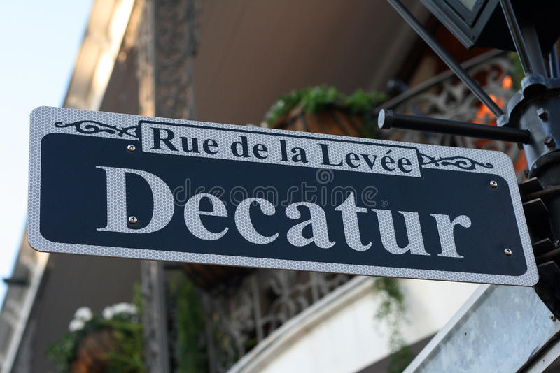 Decatur Street Sign in New Orleans. Rue de la Levee, Decatur Street Sign in New Orleans, Louisiana USA stock image