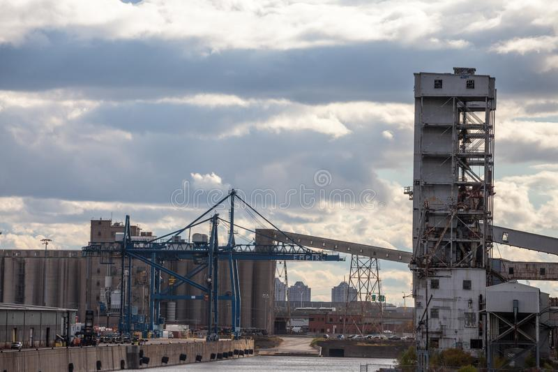 Decayed and abandoned complex of Montreal flour silos and silo #5, a symbol of the former industrial revolution past of the port. MONTREAL, CANADA - NOVEMBER 7 royalty free stock photography