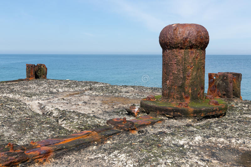 Decayed bollard at Dune, small island near Helgoland ,Germany stock image