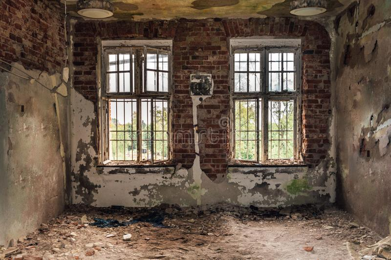 Decayed cell from a closed down mental institution stock photo