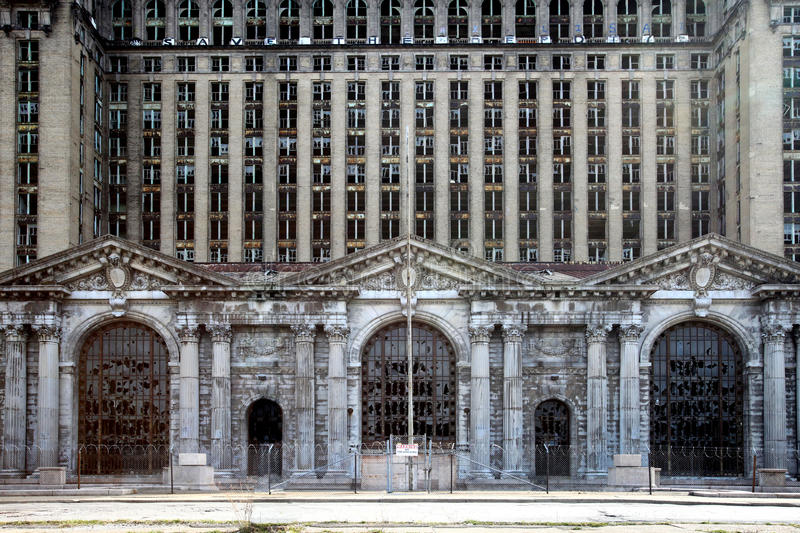 Decaying Michigan Central Station royalty free stock images