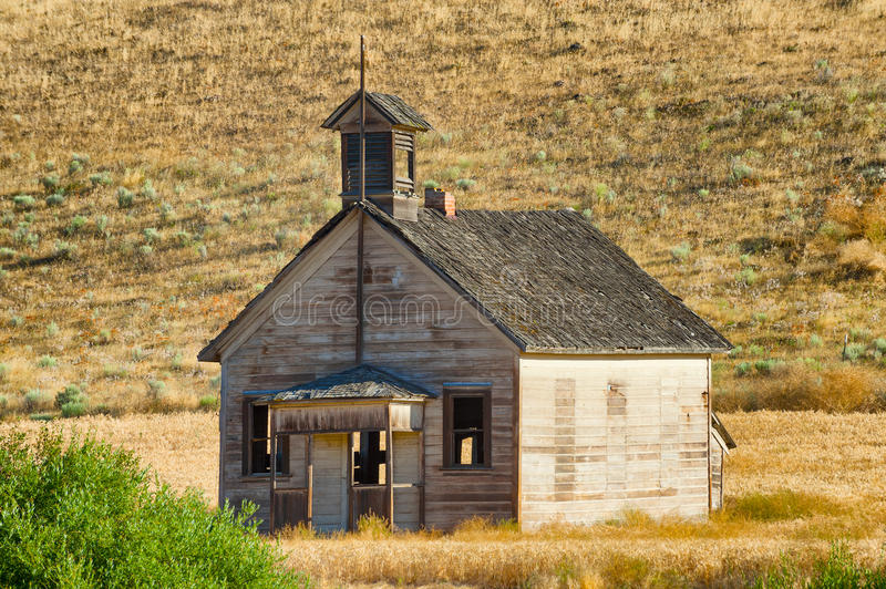 Decaying one room school house stock image