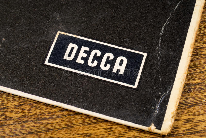 Decca Records Logo. LONDON, UK - JANUARY 4TH 2017: A close-up shot of the Decca Records symbol on the corner of a vintage vinyl record cover, on 4th January 2017 royalty free stock photography