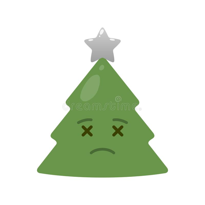 Deceased christmas tree isolated emoticon. Corpse green fir tree with decoration emoji. Merry Christmas and happy new year vector element. Undead face with royalty free illustration