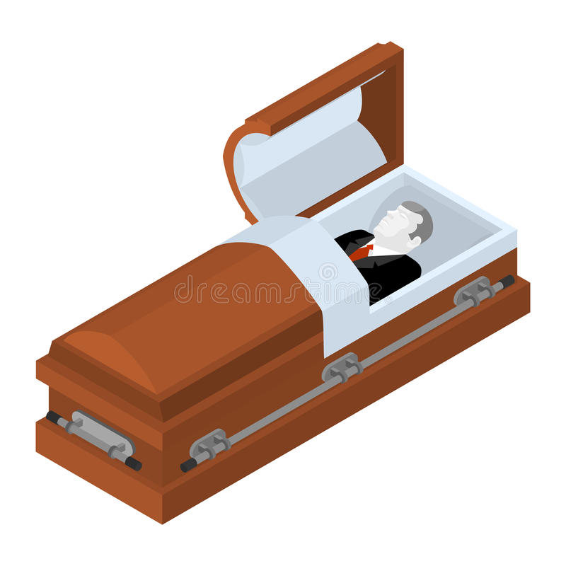 Deceased in coffin. Dead man lay in wooden casket. Corpse in an. Open hearse for burial royalty free illustration