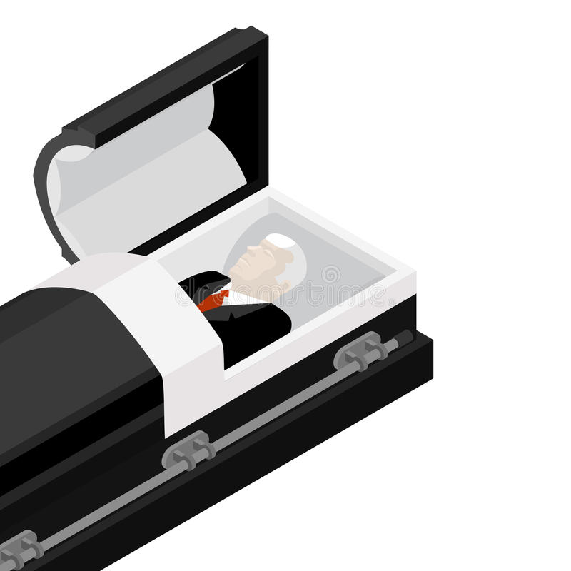 Deceased in coffin. late lamented lay in wooden casket. Corpse in an open hearse for burial royalty free illustration