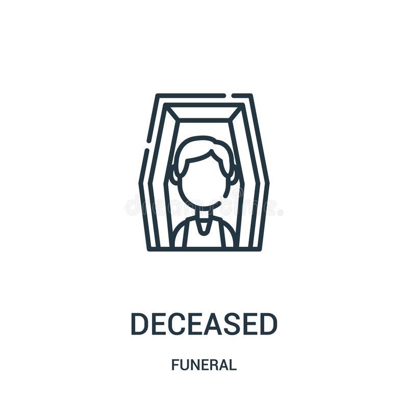 deceased icon vector from funeral collection. Thin line deceased outline icon vector illustration. Linear symbol for use on web royalty free illustration