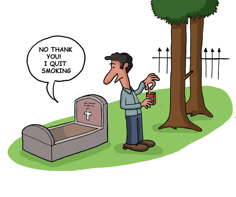 Death quits smoking. A deceased person tells that he quit smoking in his grave vector illustration