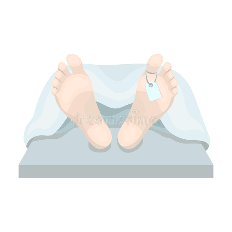 Deceased with tag icon in cartoon style isolated on white background. Funeral ceremony symbol stock vector illustration. Deceased with tag icon in cartoon royalty free illustration
