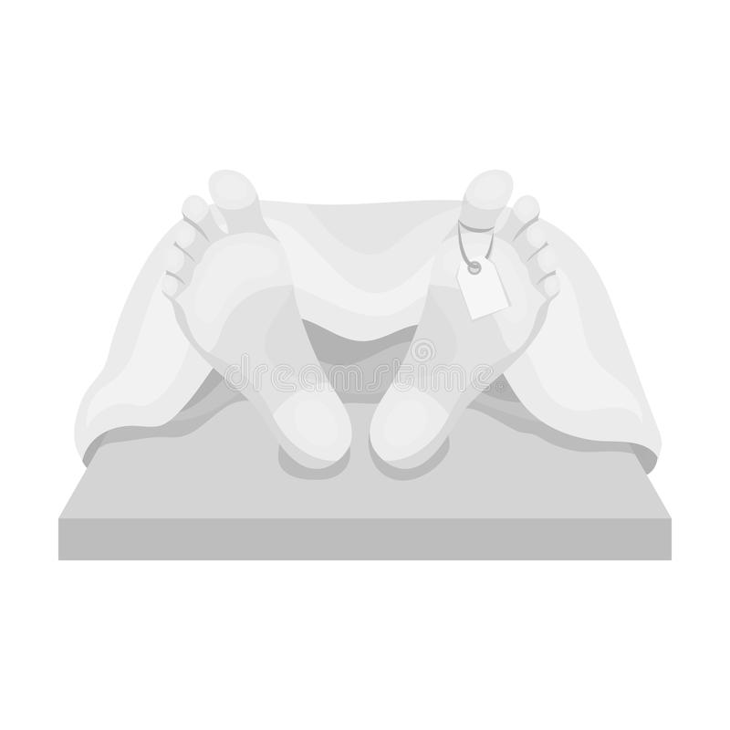 Deceased with tag icon in monochrome style isolated on white background. Funeral ceremony symbol stock vector. Deceased with tag icon in monochrome design royalty free illustration