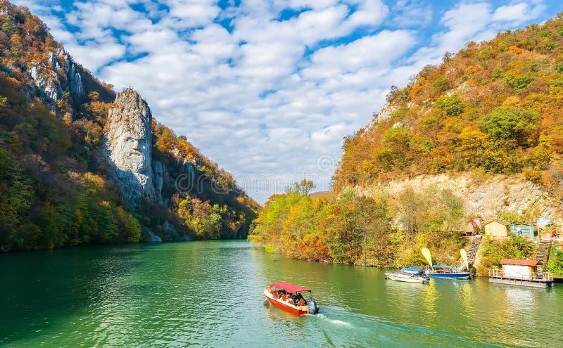 Decebal Statue on Danube river royalty free stock image