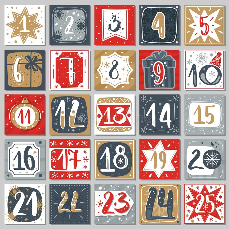 Free December Advent Calendar. Christmas Poster Countdown Printable Tags Numbered Poster With Xmas Ornament, Winter Postcard Royalty Free Stock Photo - 189577585