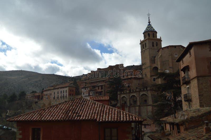 December 28, 2013. Albarracin, Teruel, Aragon, Spain. Cathedral Of El Salvador Seen From The Albarracin Square. History, Travel,. Nature, Landscape Vacation royalty free stock image