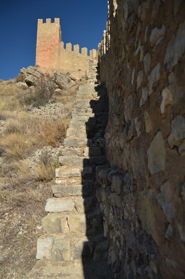 December 28, 2013 Albarracin Teruel, Aragon, Spanien Den medeltida f?stningv?ggalcazaren bevarade utm?rkt r arkivbild