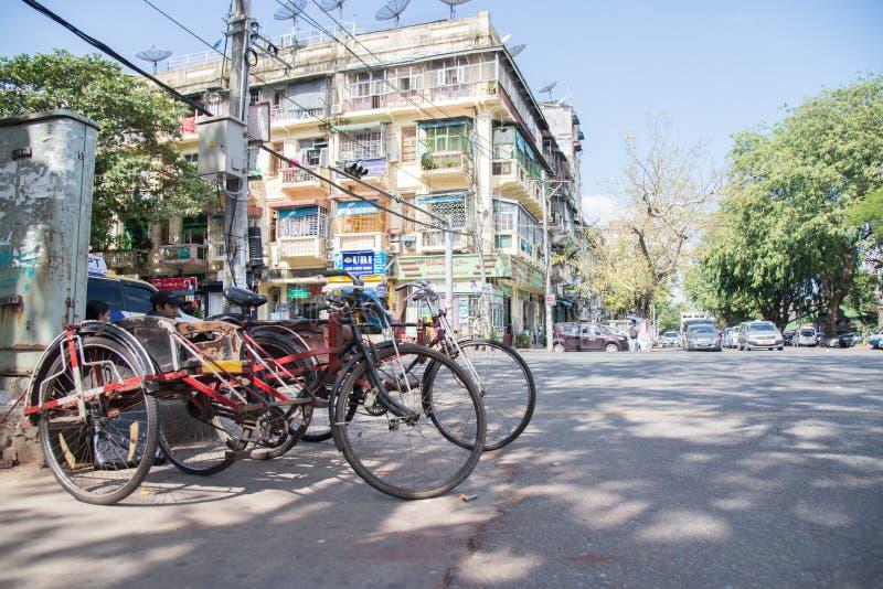 16 december 2016 bicycle transportation for tourist at the cross road in yangon city ,yangon,myanmar stock image