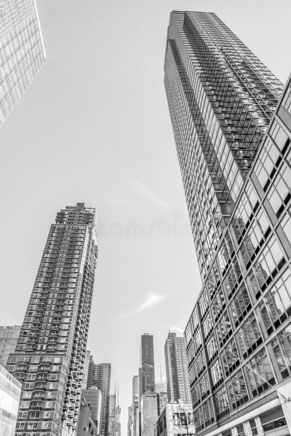 December, 2018: Black and White Buildings view in Downtown Manhattan. December, 2018: Black and White Beautiful Huge Buildings view in Downtown Manhattan royalty free stock photo