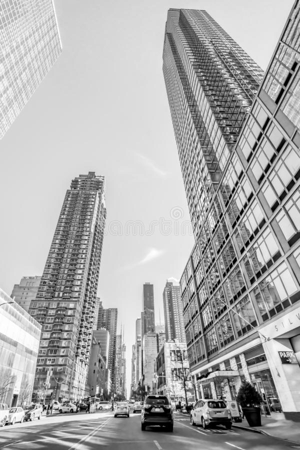 New York, December, 2018: Black and White Buildings view in Downtown Manhattan stock image