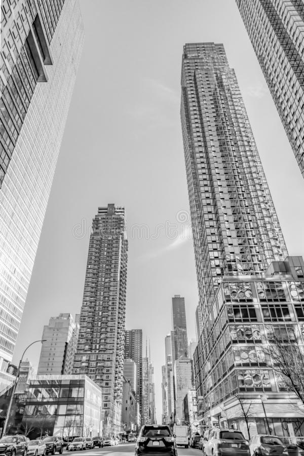 New York, December, 2018: Black and White Buildings view. New York, December, 2018: Black and White huge Beautiful Buildings view in Downtown Manhattan stock images
