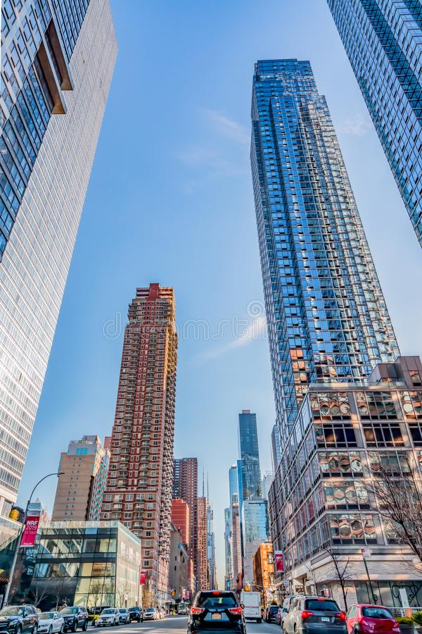 December, 2018: Buildings view in Downtown Manhattan. December, 2018: Huge Beautiful Buildings view in Downtown Manhattan royalty free stock photos