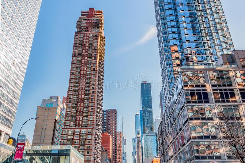 New Yrok, December, 2018: Buildings view in Downtown Manhattan. New York, December, 2018: Huge Beautiful Buildings view in Downtown Manhattan royalty free stock photography