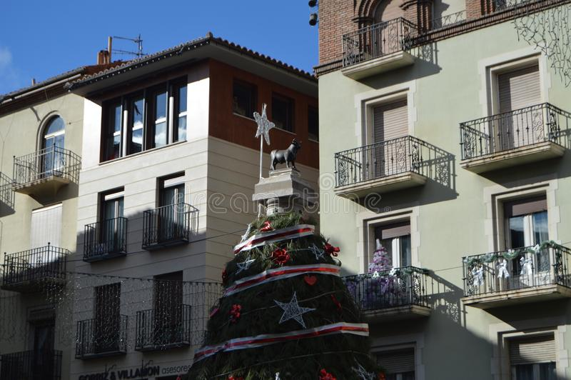 December 26, 2013. Bull In Christmas Tree In Torico Square In Teruel. Teruel, Aragon, Spain. Travel, Nature, Landscape, Vacation, royalty free stock images