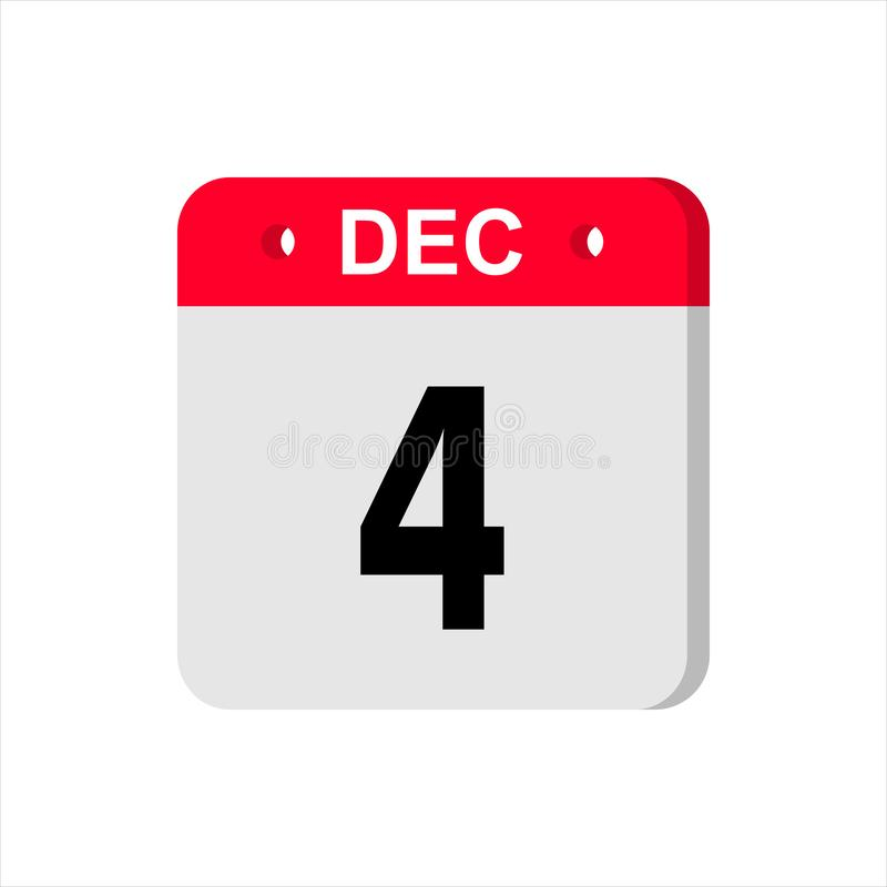 Calendar vector icon on white background. December 4. stock photo