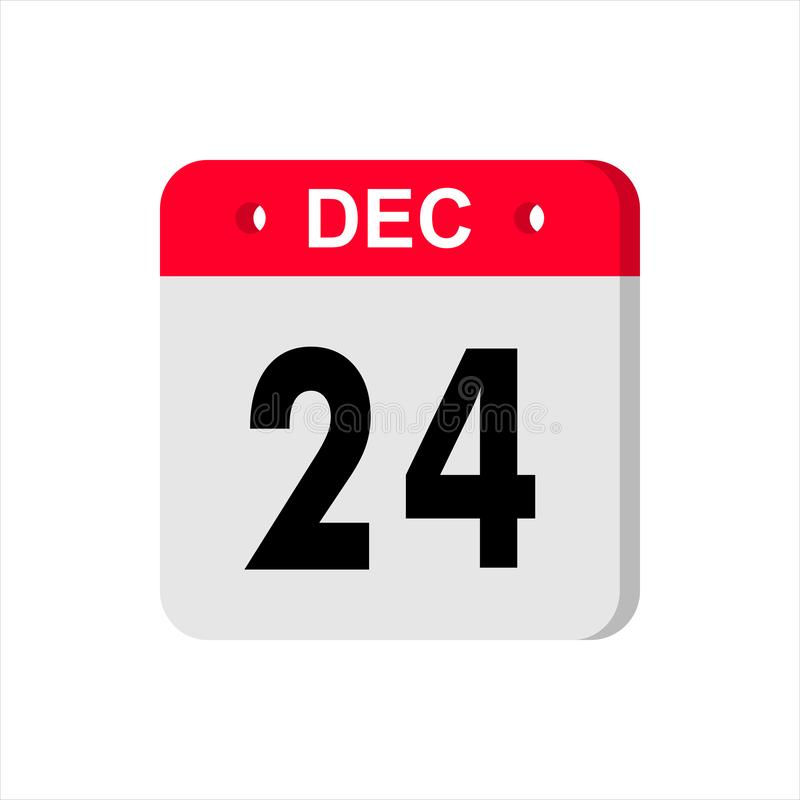 Calendar vector icon on white background. December 24. royalty free stock photo