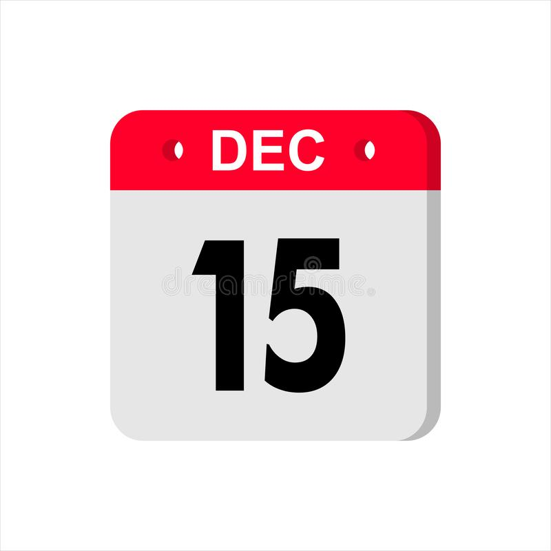 Calendar vector icon on white background. December 15. royalty free stock photography