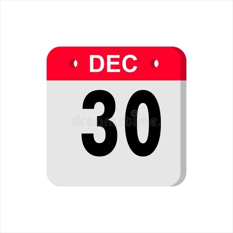Calendar vector icon on white background. December 30. stock photography