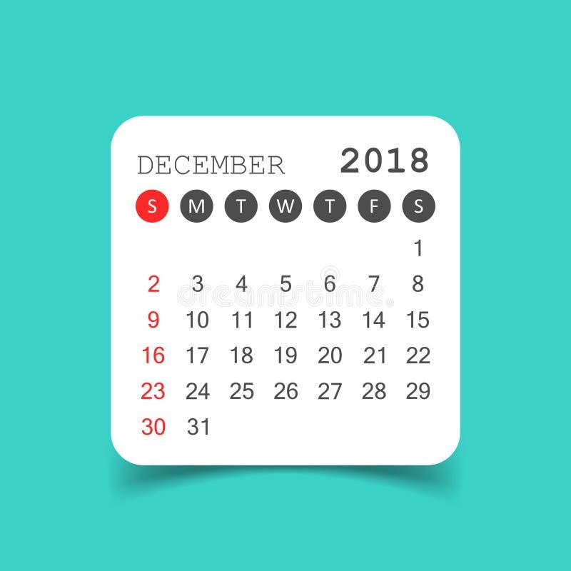 Download December 2018 Calendar. Calendar Sticker Design Template. Week S Stock Vector - Illustration of organization, date: 103424392