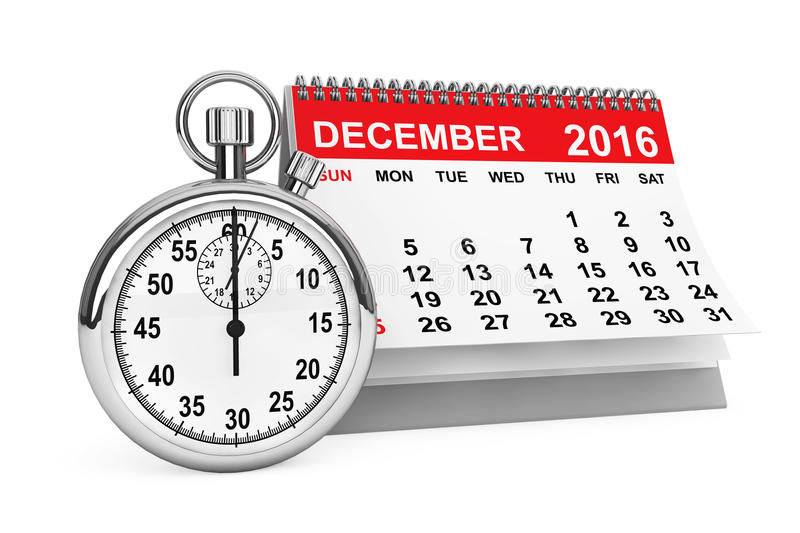 December 2016 calendar with stopwatch. 3d rendering royalty free illustration
