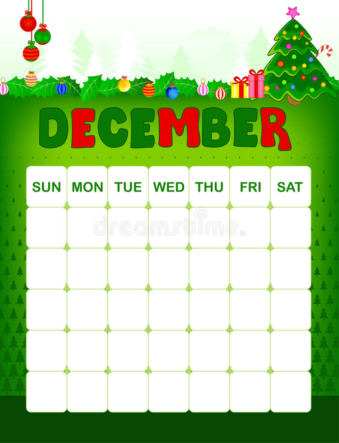 December calender. Colorful wall calender page template with seasonal graphics for each month. december christmas themed calender page vector illustration