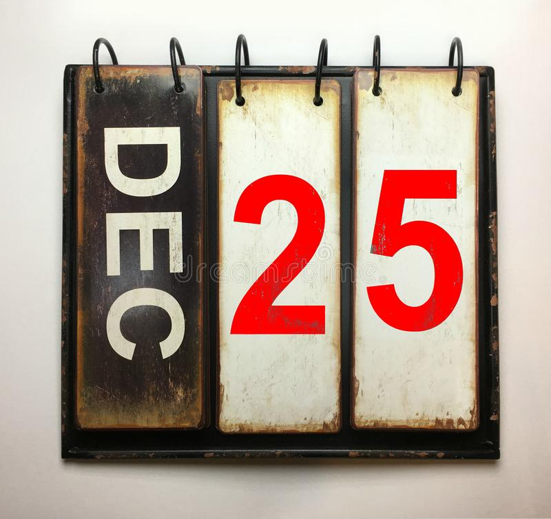 December 25 Christmas Day. On vintage calendar royalty free stock photo